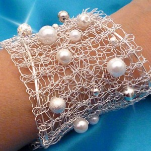 white pearl wedding cuff
