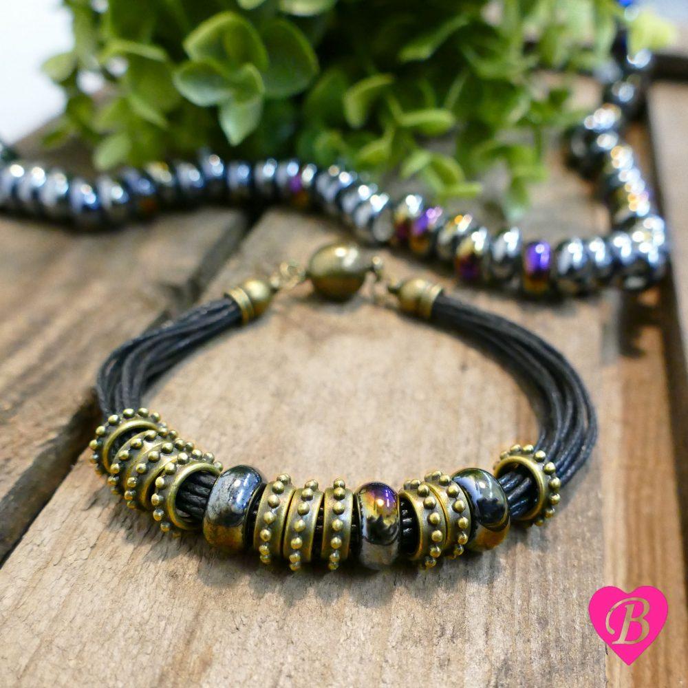 Tibetan Style Brass Spacers Multi-Strand Bracelet