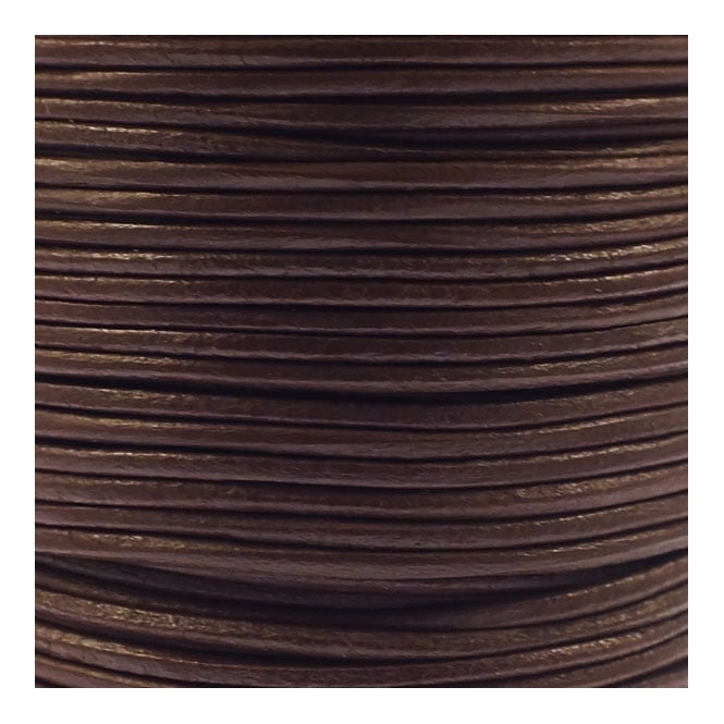 0.5mm Round Leather Cord - Brown - 5m
