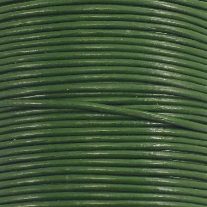 0.5mm Round Leather Cord - Green - 5m