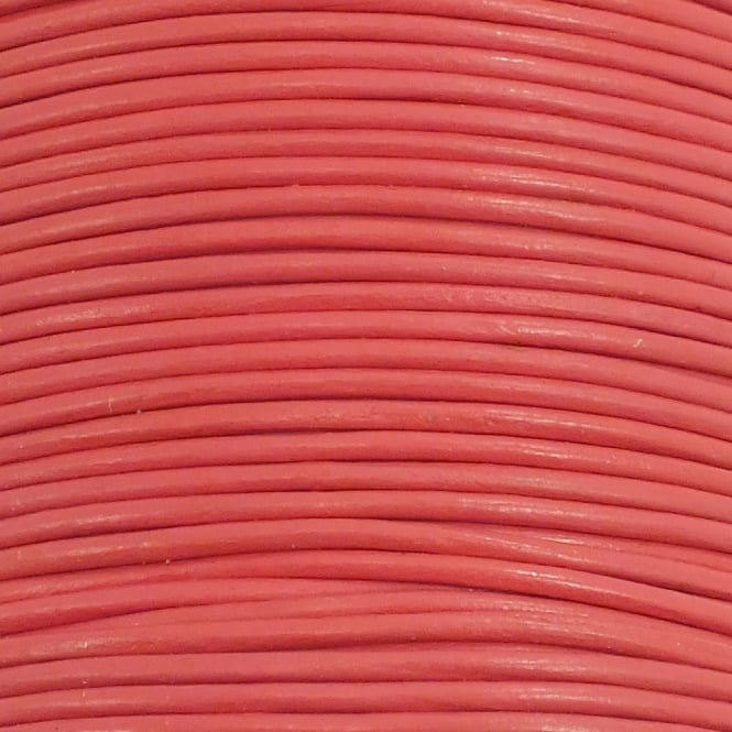 0.5mm Round Leather Cord - Salmon - 5m