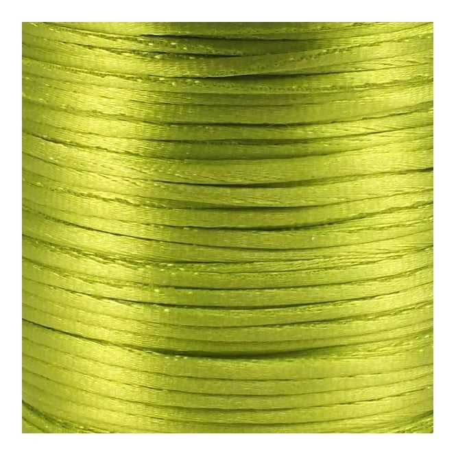 1.5mm Rattail Satin Cord - Lime Green - 5m