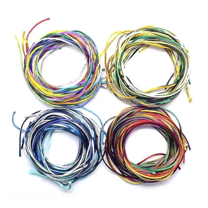 1.5mm Rattail Satin Cord - Mix Colours - 10m
