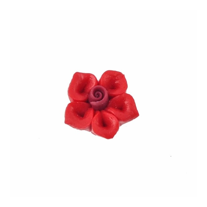 10mm Fimo Five Petal Flower Bead - Red