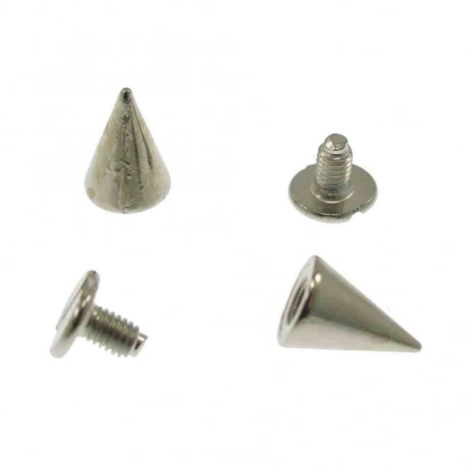 10mm Metal Cone Screw Studs - Silver - 10pk