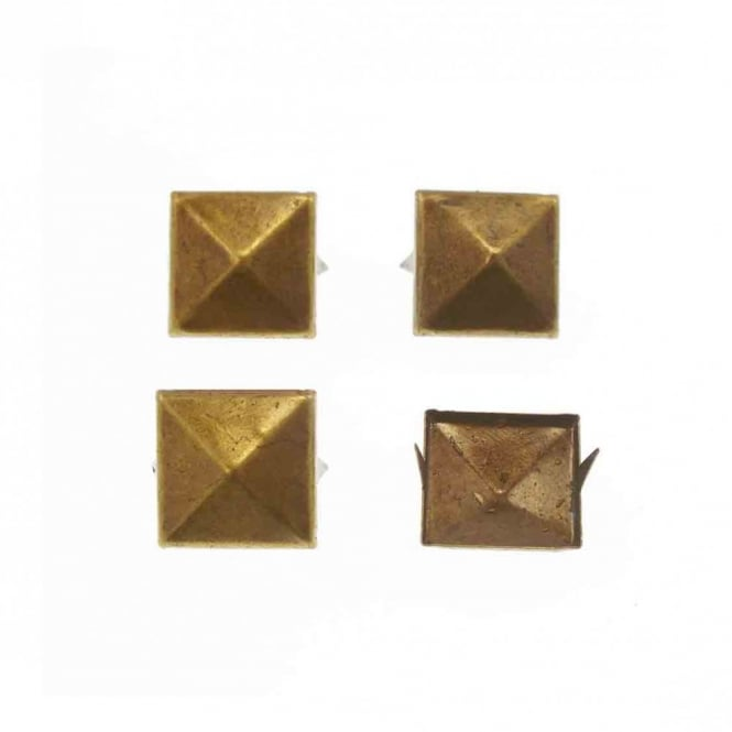 10mm Metal Square Pyramids Studs - Antique Gold - 20pk