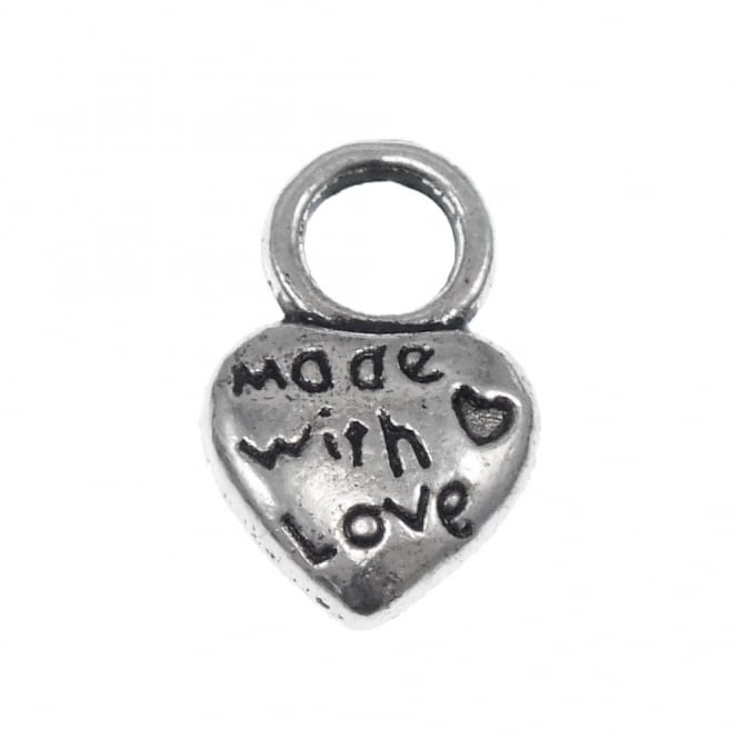 "10mm Puffed Heart 'Made With Love"" Charm - Antique Silver Plated - 20pk"