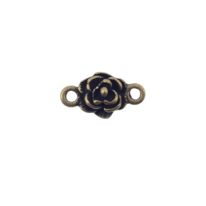 10mm Rose Connector - Antique Brass Plated