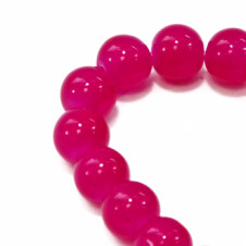 10mm Round Glass Marble Bead - Fuchsia - 1 String (21 Beads)