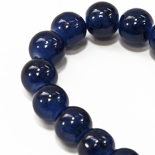 10mm Round Glass Marble Bead - Montana - 1 String (21 Beads)