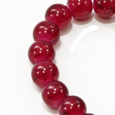 10mm Round Glass Marble Bead - Speckled Dark Red - 1 String (21 Beads)