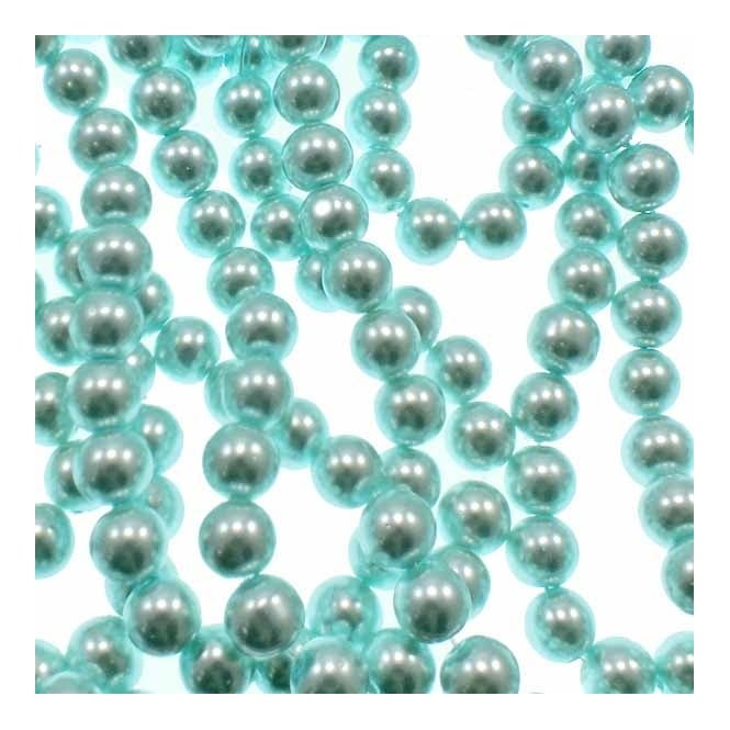 10mm Round Glass Pearl Beads - Aquamarine - 1 String (42 Beads)