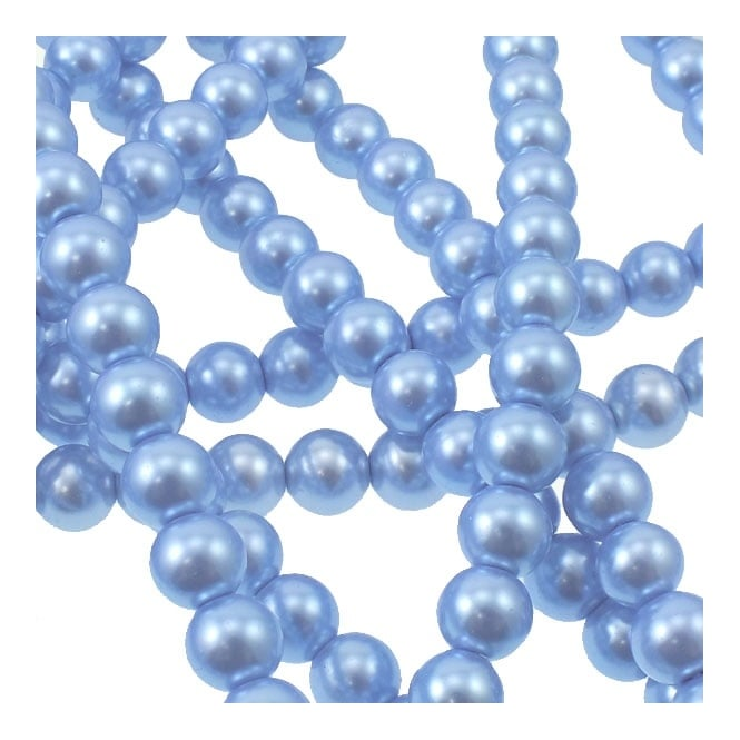 10mm Round Glass Pearl Beads - Baby Blue - 2 Strings (44 Beads)