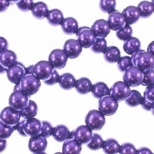 10mm Round Glass Pearl Beads - Bright Purple - 2 Strings (44 Beads)