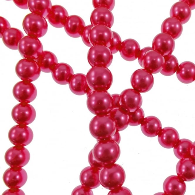 10mm Round Glass Pearl Beads - Bright Rose - 2 Strings (44 Beads)