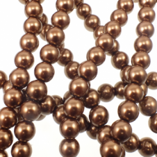 10mm Round Glass Pearl Beads - Coffee - 2 Strings (44 Beads)