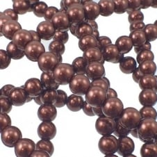 10mm Round Glass Pearl Beads - Dark Brown - 2 Strings (44 Beads)