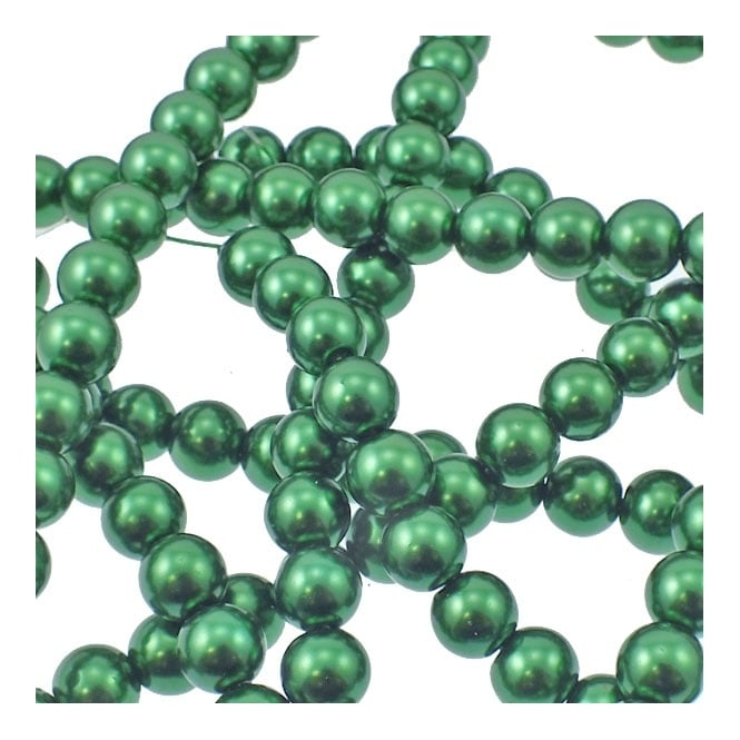 10mm Round Glass Pearl Beads - Dark Green - 2 Strings (44 Beads)