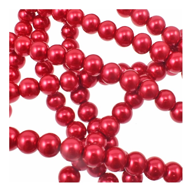 10mm Round Glass Pearl Beads - Deep Pink - 2 Strings (44 Beads)
