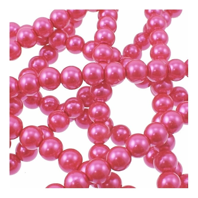 10mm Round Glass Pearl Beads - Fuchsia - 2 Strings (44 Beads)