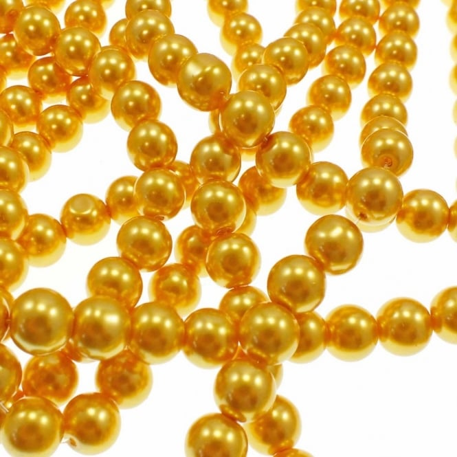 10mm Round Glass Pearl Beads - Gold - 1 String (42 Beads)