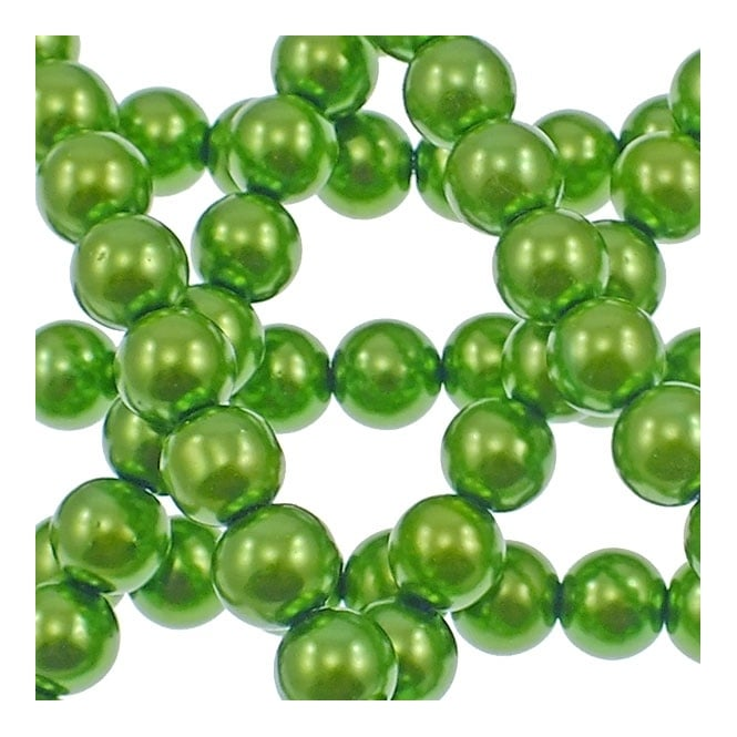 10mm Round Glass Pearl Beads - Green - 2 Strings (44 Beads)