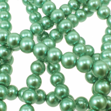 10mm Round Glass Pearl Beads - Jade Green - 2 Strings (44 Beads)