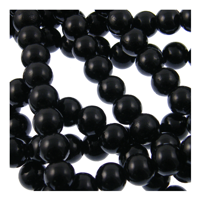 10mm Round Glass Pearl Beads - Jet - 1 String (42 Beads)