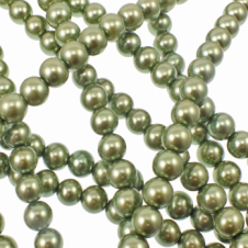 10mm Round Glass Pearl Beads - Khaki - 2 Strings (44 Beads)