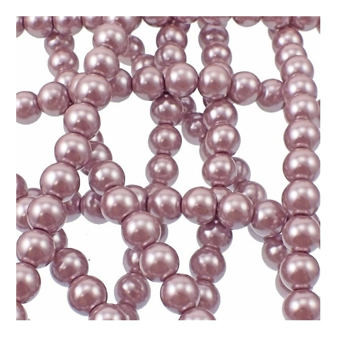 10mm Round Glass Pearl Beads - Light Mink - 2 Strings (44 Beads)