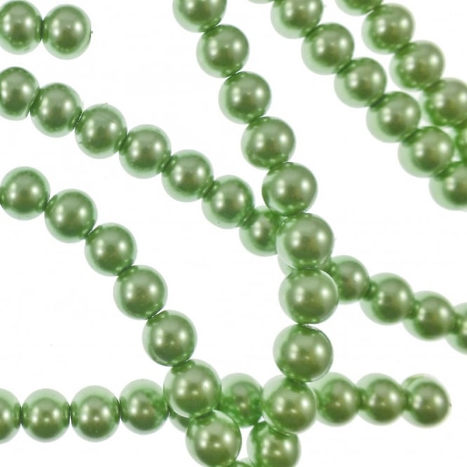 10mm Round Glass Pearl Beads - Mint Green - 2 Strings (44 Beads)
