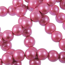 10mm Round Glass Pearl Beads - Pink - 2 Strings (44 Beads)