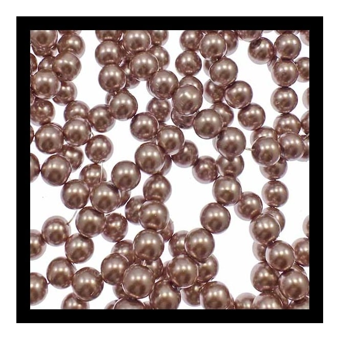 10mm Round Glass Pearl Beads - RosyBrown - 1 String (42 Beads)