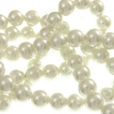 10mm Round Glass Pearl Beads - White - 1 String (44 Beads)