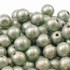 10mm Round Glass Pearlescent Glitter Bead - Sage