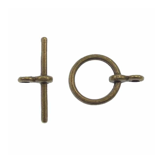 10mm Round Toggle Clasp - Antique Brass Plated - 10pk