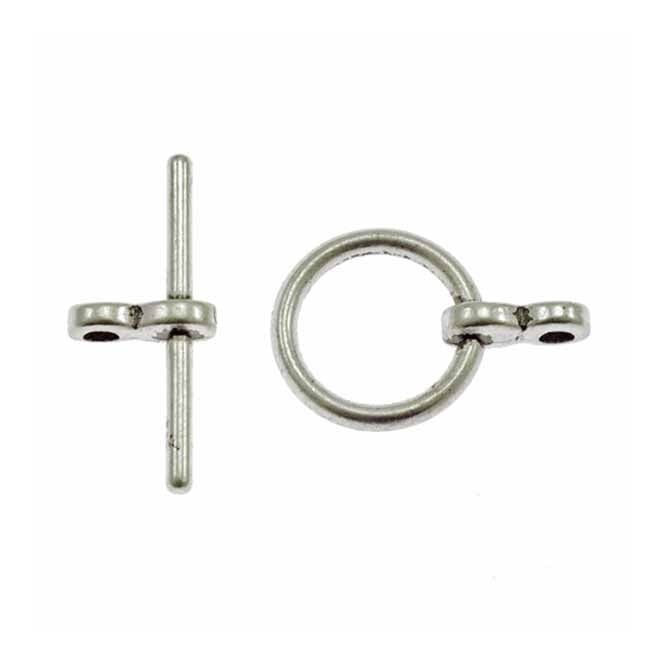 10mm Round Toggle Clasp - Antique Silver Plated - 10pk
