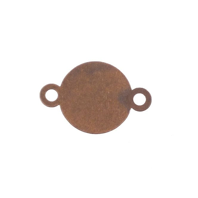 10mm Small Round Flat Back Cabachon Connector - Antique Copper Plated
