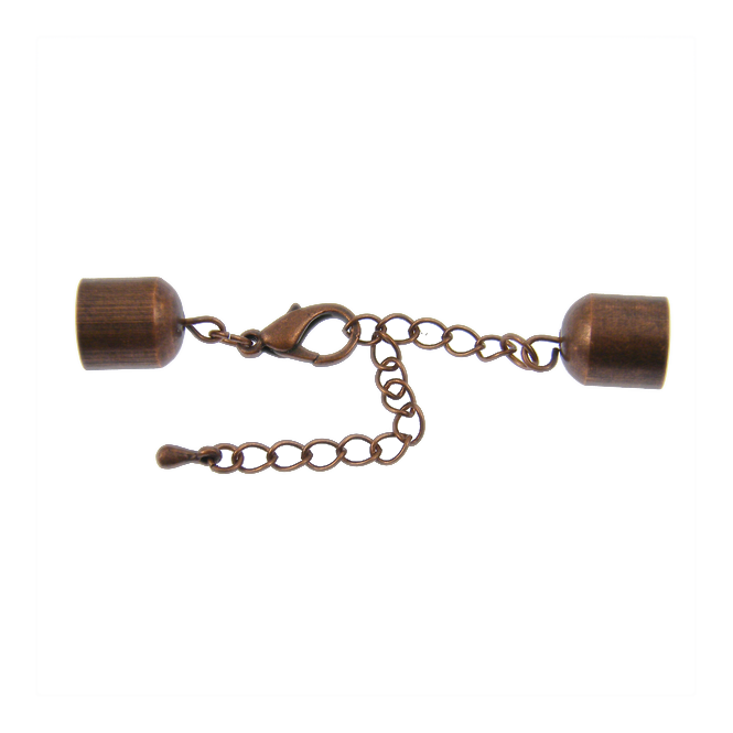 10x11mm Bell Closers With Extension Chain - Antique Copper Plated - 1pk