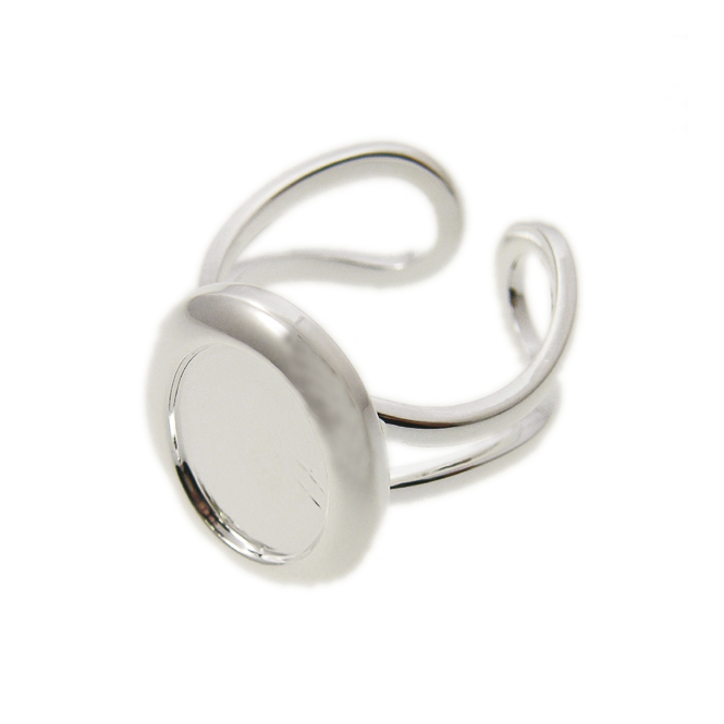 10x14mm Cameo Mount Ring Base - Silver Plated