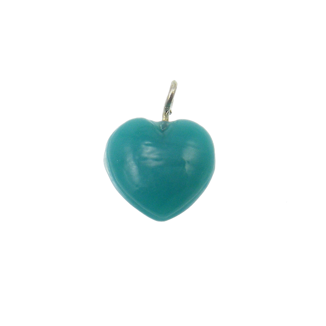 11mm Glass Heart Charms - Opaque Turquoise