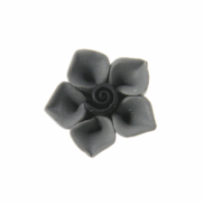 12mm Fimo Five Petal Flower Bead - Grey