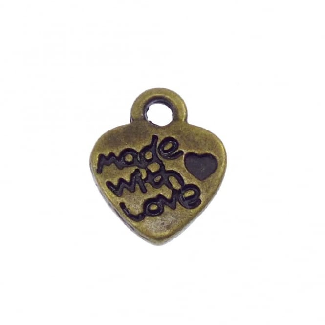 12mm 'Made with Love' Charm - Antique Brass Plated - 10pk