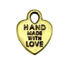 12mm 'Made with Love' Charm - Antique Gold Plated - 10pk