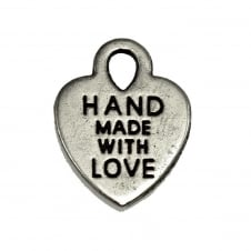 12mm 'Made with Love' Charm - Antique Silver Plated - 10pk