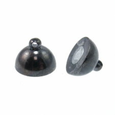 12mm Magnetic Round Clasp - Black Plated - 1pk