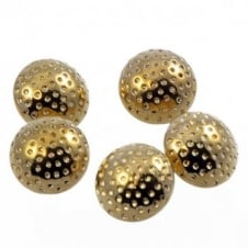 12mm Metal Dimpled Dome Button - Gold Plated - 10pk