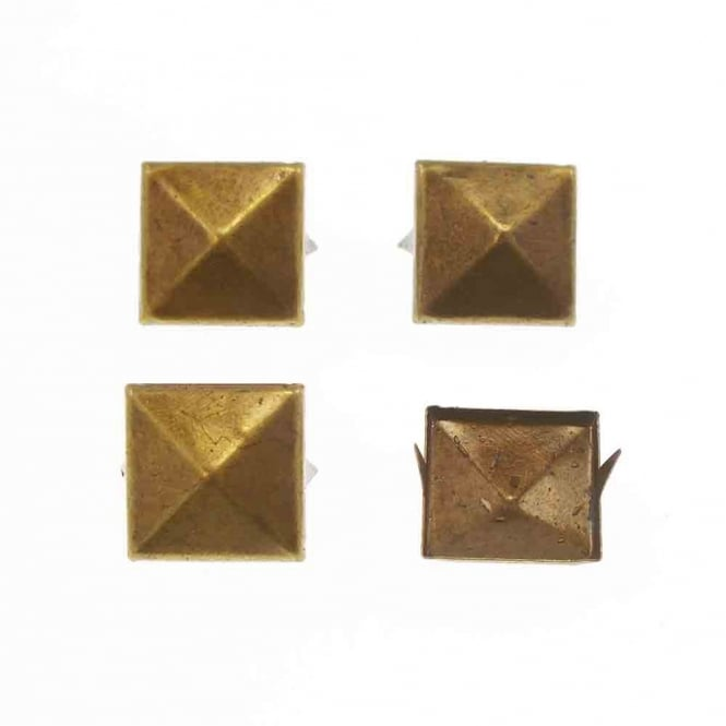 12mm Metal Square Pyramids Studs - Antique Gold - 10pk