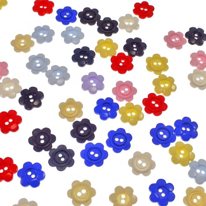12mm Plastic Daisy 2 Hole Button - Mix - 40pk