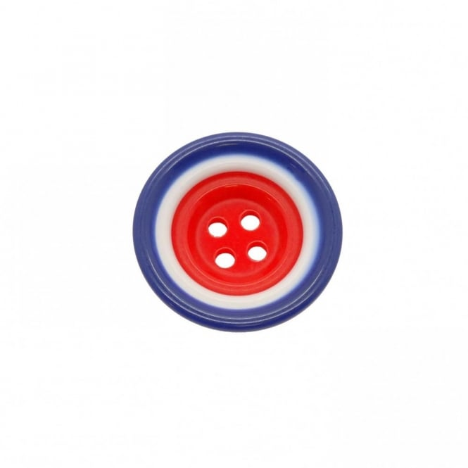 12mm Plastic Red, White & Blue Round Button - 10pk